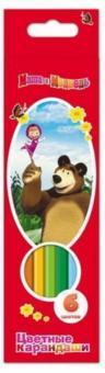 Маша и Медведь. Цветные карандаши 6 цв. трехгранные, толстые /240