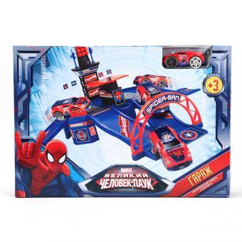 Технопарк. Гараж MARVEL Человек паук с метал. Машиной