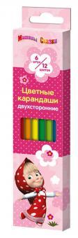 Маша и Медведь. Цветные карандаши двусторонние 6шт.цв.