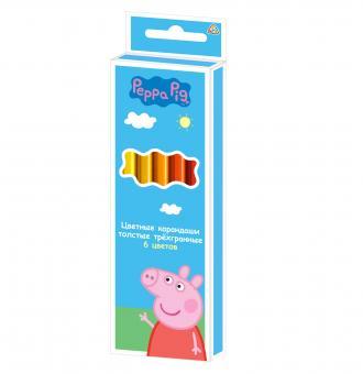 Свинка Пеппа. Цветные карандаши толстые 6 цветов