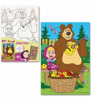 Маша и Медведь. Рисунок по холсту Машин урожай стразы ,холст