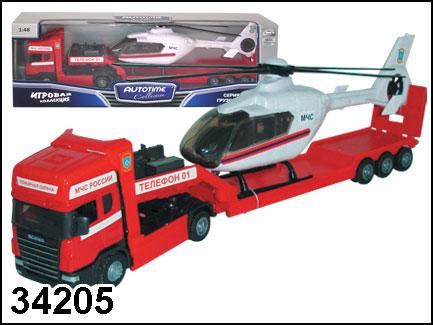 Грузовик Скания Пожарная с вертолетом 1:48