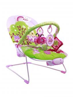 Шезлонг детский  Весенняя полянка см, 1 дуга, 3 игрушки, вибро, музыка,