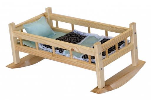 Кроватка-качалка для кукол №9 с бельем дерево