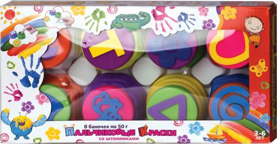 Пальчиковые краски Штампики 8 цв. коробка