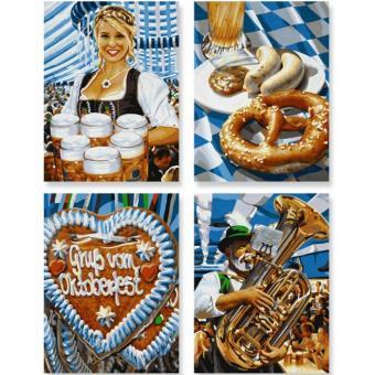 Раскраска по номерам 4 картины, Октоберфест в Мюнхене, 18х24см