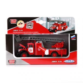 Технопарк. Машина Зил 131 Пожарная 1:43, свет+звук. инерц. метал.