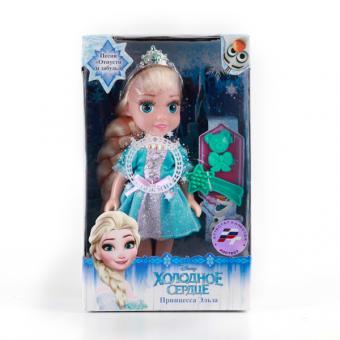 Кукла Disney Frozen.  Эльза 15 см, озвученная,  с аксессуарами