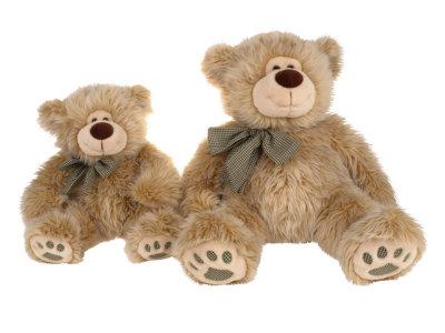 Медведь сидящий с лентой 43 см.