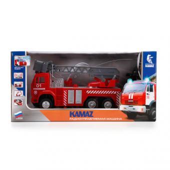 Технопарк. Камаз Пожарная машина Р/У свет+звук, фугкция брызгает водой.
