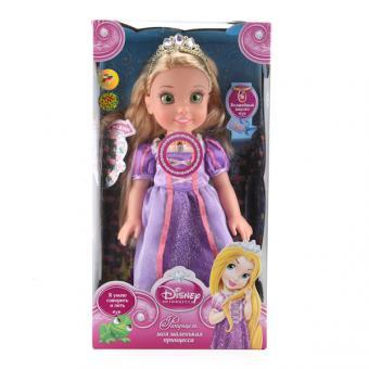 Кукла Disney Princess Рапунцель 37 см, на бат озвученная  светится амулет