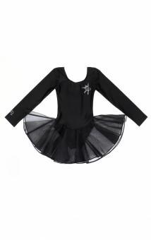 Костюм черный гимнастический с юбкой 'Муза' для девочки. Для эпизодического использования 152-80(40) 12 лет