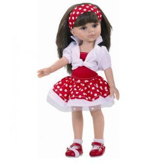 Кукла Кэрол, в бело-красном в горошек, 32 см