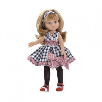 Кукла Карла в клетчатом платье и красно-белых туфлях, 32 см