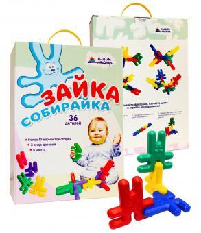 Развивающий конструктор для малышей Зайка-собирайка 36 деталей