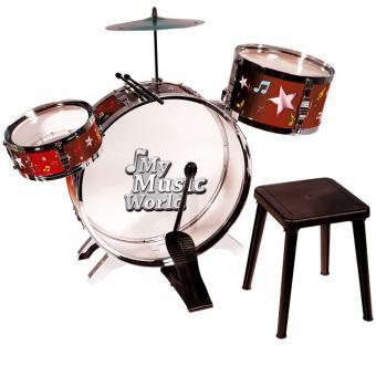 Барабанная установка с тарелками, барабанными палочками и стульчиком