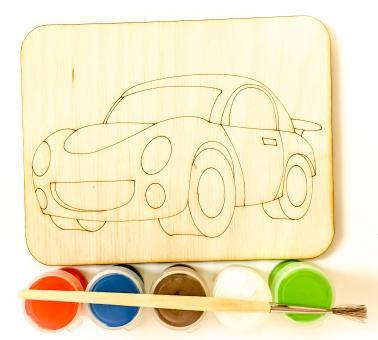 Дощечка под роспись Машинка с красками и кисточкой (11*14 см.)