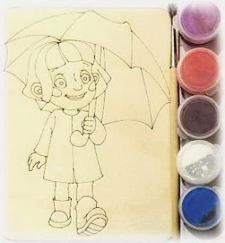 Дощечка под роспись Девочка с зонтом с красками и кисточкой (11*14 см.)