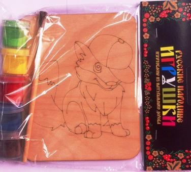 Дощечка под роспись Лисенок в кепке с красками и кисточкой (11*14 см.)