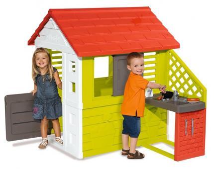 Игровой домик с кухней, красный