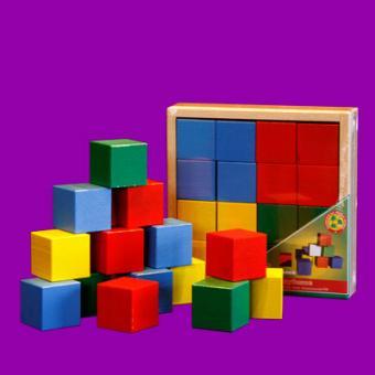 Кубики цветные , 16 элементов