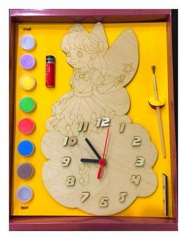 Часы с циферблатом под роспись Фея красками