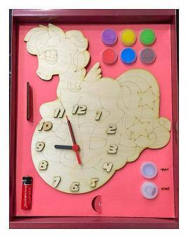 Часы с циферблатом под роспись Пони с красками