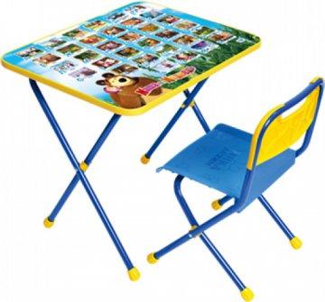 Комплект Стол и стул синий Познайка Азбука Маша и Медведь