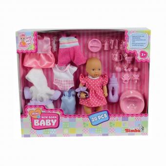 Mini New Born Baby Пупс пьет/писает,12 см, набор одежды + 20 аксессуаров