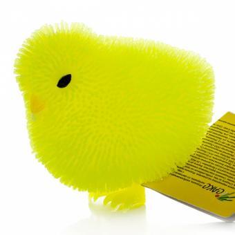 Игрушка фигурка цыпленок с резиновым ворсом с подсветкой