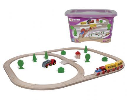 Набор деревянной железной дороги с грузовым поездом и  аксессуарами, 35 дет. в пластиковом ящике