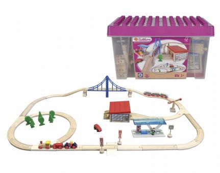 Набор деревянной железной дороги с мостом, депо и аксессуарами, 58 дет. в пластиковом ящике