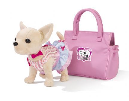 Плюшевая собачка Чихуахуа, в платье, в розовой  сумочке, с аксессуарами для ребенка, 20 см