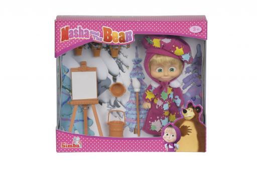 Кукла Маша в одежде художницы с набором для рисования, 12 см