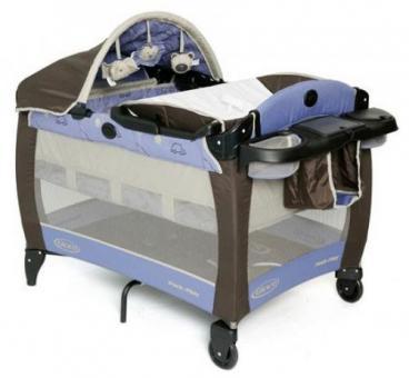 Детский манеж- кроватка Graco Electra Deluxe голубой