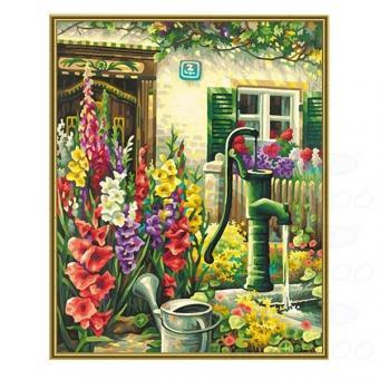 Раскраска по номерам. Цветник у дома, 40х50 см
