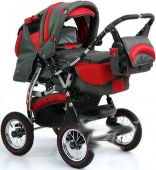 Детская коляска-трансформер Tako Natalia P,PR красный с серым