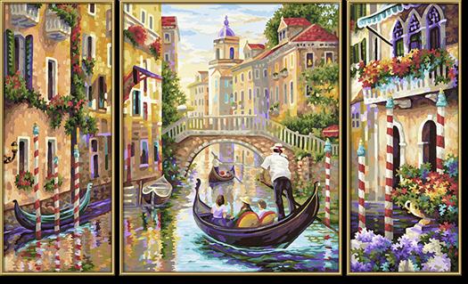 J Schipper раскраска по номерам триптих венеция город в лагуне 50х80 см